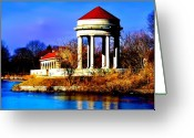 Lake Photographs Greeting Cards - The Gazebo and Boathouse at Franklin Delano Roosevelt Park Greeting Card by Bill Cannon