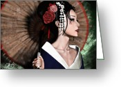 Pin-up Greeting Cards - The Geisha Greeting Card by Pete Tapang