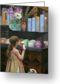 Little Girl Greeting Cards - The Gelato Shop Greeting Card by Anna Bain