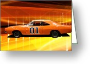 Tv Show Greeting Cards - The General Lee Greeting Card by Joel Witmeyer
