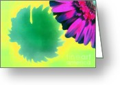 Gold Lame Painting Greeting Cards - The gerbera Greeting Card by Odon Czintos
