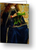 Hubert Greeting Cards - The Ghent Altarpiece The Virgin Mary Greeting Card by Jan and Hubert Van Eyck
