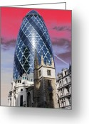 Centre Greeting Cards - The Gherkin London Greeting Card by Jasna Buncic