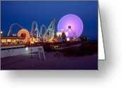 Jersey Shore Greeting Cards - The Giant Wheel at Night  Greeting Card by George Oze