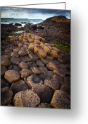 Hexagons Greeting Cards - The Giants Causeway - Rocky Road Greeting Card by Inge Johnsson