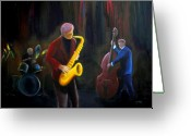Jamming Painting Greeting Cards - The Gig Greeting Card by Clemens Greis