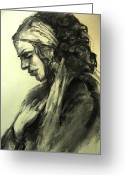Gipsy Greeting Cards - The gipsy woman Greeting Card by Lyubov Rasic