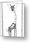 Outsider Art Drawings Greeting Cards - The Giraffe and The Rat Greeting Card by Zelde Grimm