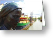 Old Town Painting Greeting Cards - The Girl at the Harbor Greeting Card by Stefan Kuhn