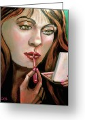 Portrature Greeting Cards - The Girl In The Glass Greeting Card by Karen Zima