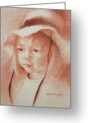 Young Pastels Greeting Cards - The Girl in the Hat Greeting Card by MaryAnn Cleary