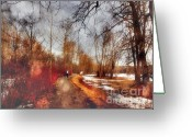 Winter Road Greeting Cards - The Girl on the Path Greeting Card by Tara Turner