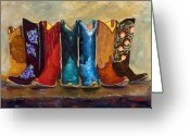 Western Painting Greeting Cards - The Girls Are Back In Town Greeting Card by Frances Marino