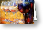Vineyard Digital Art Greeting Cards - The Glasses Greeting Card by Jeri Kelly