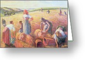 Moisson Greeting Cards - The Gleaners Greeting Card by Camille Pissarro