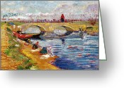 French Landscape Greeting Cards - The Gleize Bridge over the Vigneyret Canal  Greeting Card by Vincent van Gogh