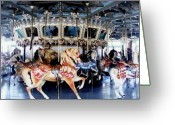 Usa Pyrography Greeting Cards - The Glen Echo Carousel Greeting Card by Fareeha Khawaja