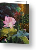 Lotus Seed Pod Greeting Cards - The Glow of My Soul Greeting Card by Mona Davis