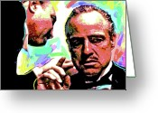Characters Greeting Cards - The Godfather - Marlon Brando Greeting Card by David Lloyd Glover
