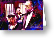 Marlon Brando Greeting Cards - The Godfather Kiss Greeting Card by David Lloyd Glover