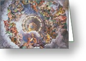 Ceiling Greeting Cards - The Gods of Olympus Greeting Card by Giulio Romano