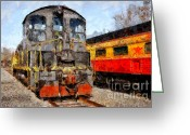 Tong River Greeting Cards - The Golden Age of Railroads . 7D11588 Greeting Card by Wingsdomain Art and Photography