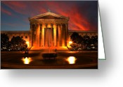 Art Of Building Greeting Cards - The Golden Columns - Philadelphia Museum of Art - Sunset Greeting Card by Lee Dos Santos