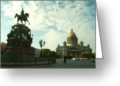 Art In Squares Greeting Cards - The Golden Dome Of Saint Isaacs Greeting Card by Richard Nowitz