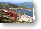 Sausalito Greeting Cards - The Golden Gate Bridge North Side Overlooking Angel Island and Tiburon and Horseshoe Bay . 7D14540 Greeting Card by Wingsdomain Art and Photography