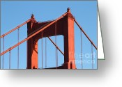 Ggbridge Greeting Cards - The Golden Gate Bridge Up Close . San Francisco California . 7D14537 Greeting Card by Wingsdomain Art and Photography