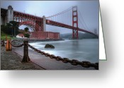 Moist Greeting Cards - The Golden Gate Morning Greeting Card by Sean Foster