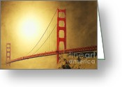 Bay Mixed Media Greeting Cards - The Golden Gate Greeting Card by Wingsdomain Art and Photography