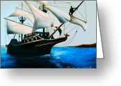 Sailboat Picture Greeting Cards - The Golden Hind Greeting Card by Corey Ford