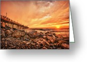 Surf Photography Greeting Cards - The Golden Hour Greeting Card by Larry Marshall