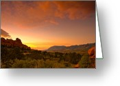 Garden Of The Gods Greeting Cards - The Golden Hour Greeting Card by Tim Reaves