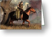 Chivalry Greeting Cards - The Golden Knight and His Lady Greeting Card by Daniel Eskridge