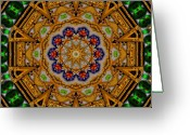Oriental Flower Greeting Cards - The golden sacred mandala in wood Greeting Card by Pepita Selles