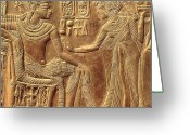 Portrait Reliefs Greeting Cards - The Golden Shrine of Tutankhamun Greeting Card by Egyptian Dynasty 