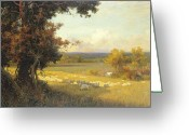 Idyllic Greeting Cards - The Golden Valley Greeting Card by Sir Alfred East