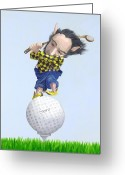 Elves Greeting Cards - The Golfer Greeting Card by Leonard Filgate