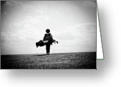 Kid Photo Greeting Cards - The Golfer Greeting Card by Shawn Wood