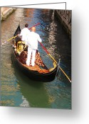 Gondola Digital Art Greeting Cards - The Gondola - Venice Greeting Card by Bill Cannon