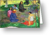 Gossiping Greeting Cards - The Gossipers Greeting Card by Paul Gauguin