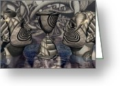 Surrealist Digital Art Greeting Cards - The Grail of Two Minds Greeting Card by Jon Gemma In Your Living Room