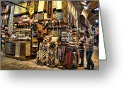 Merchant Greeting Cards - The Grand Bazaar in Istanbul Turkey Greeting Card by David Smith