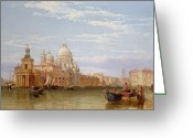 Architecture Painting Greeting Cards - The Grand Canal - Venice Greeting Card by George Clarkson Stanfield