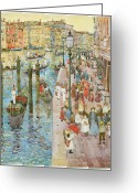 Fine American Art Greeting Cards - The Grand Canal Venice Greeting Card by Maurice Prendergast