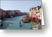 Places In Venice.venecia.venezia.venice Greeting Cards - The Grand Canal Venice Oil Effect Greeting Card by Tom Prendergast