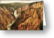 Yellowstone Landscape Art Greeting Cards - The Grand Canyon Of The Yellowstone Greeting Card by Greg Norrell