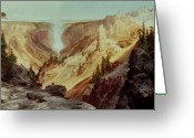 Hot Springs Greeting Cards - The Grand Canyon of the Yellowstone Greeting Card by Thomas Moran